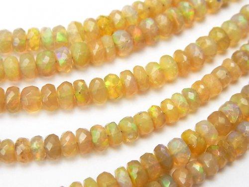 宝石質エチオピア産オパールAAA ボタンカット 1/4連〜1連(約40cm)