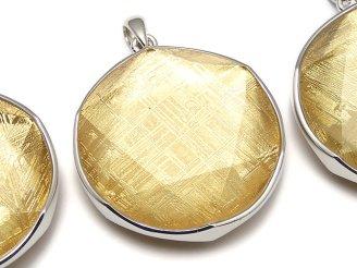 天然石卸 メテオライト(ギベオン隕石) ペンダントトップ 両面仕上げ32mm ゴールドカラー