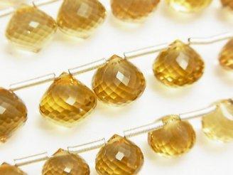 天然石卸 極上カット!宝石質ビアクォーツAAA オニオン ブリオレットカット 3粒〜1連(約20cm)