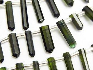 天然石卸 宝石質グリーントルマリンAAA 氷柱カット 【M〜Lサイズ】 カラーグラデーション 半連/1連(約18cm)