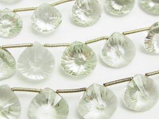 天然石卸 宝石質グリーンアメジストAAA- マロン コンケーブカット 半連/1連(約17cm)
