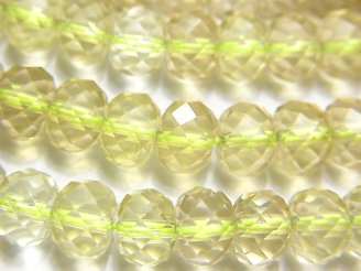 天然石卸 高品質レモンクォーツAAA ボタンカット8×8×6mm 半連/1連(約38cm)