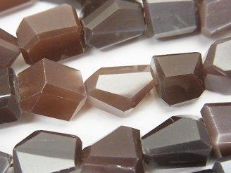 天然石卸 宝石質ブラウンムーンストーンAAA- タンブルカット 半連/1連(約24cm)