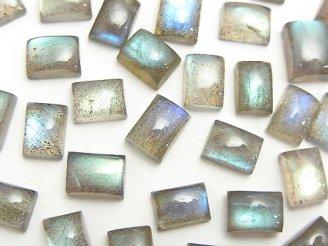 天然石卸 ラブラドライトAA++ レクタングル型カボション8〜9×6〜7mm 10粒780円!