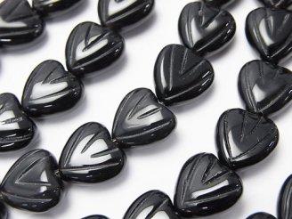 天然石卸 オニキスAAA 彫刻入り縦穴ハート10×10×5mm 半連/1連(約38cm)