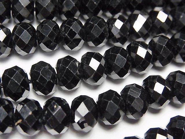 【動画】【素晴らしい輝き】ブラックスピネルAAA ボタンカット8×8×5mm 半連/1連(約38cm)
