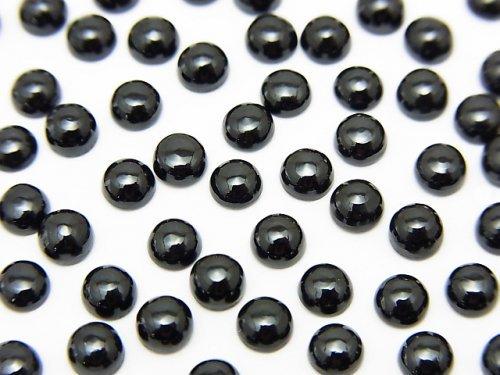 宝石質ブラックスピネルAAA ラウンド カボション4×4mm 10個