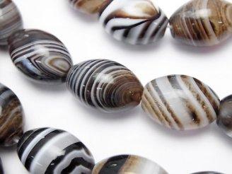 天然石卸 ブラウンストライプアゲート 大粒ライス18×13×13mm 半連/1連(約35cm)