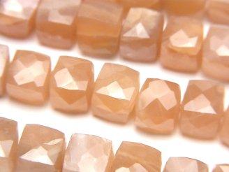 天然石卸 宝石質オレンジムーンストーンAA++ キューブカット 半連/1連(約18cm)