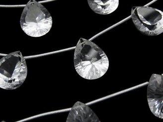 天然石卸 1連1,980円!宝石質クリスタルAAA ペアシェイプ コンケーブカット16×12mm 1連(5粒)