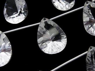 天然石卸 1連2,980円!宝石質クリスタルAAA ペアシェイプ コンケーブカット20×15mm 1連(5粒)