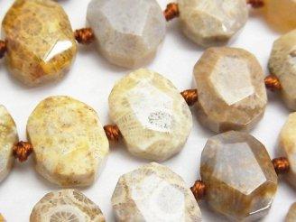 天然石卸 フォシルコーラル(化石珊瑚) フラットタンブルカット 半連/1連(約38cm)