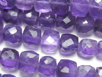 天然石卸 宝石質ライトカラーアメジストAA++ キューブカット 半連/1連(約18cm)