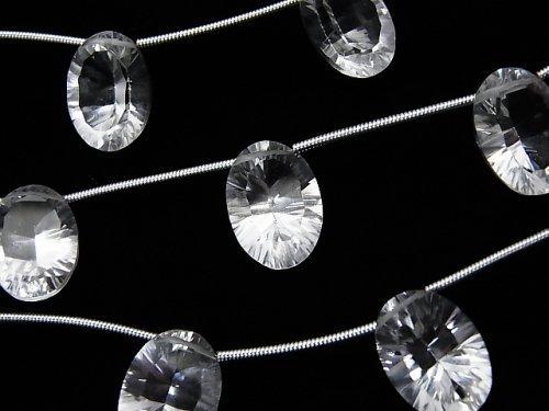 宝石質クリスタルAAA オーバル コンケーブカット14×10mm 1連(4粒)