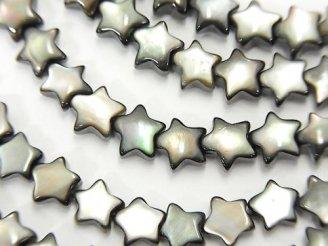 天然石卸 高品質ブラックシェル(黒蝶貝)AAA スター6×6×3mm 半連/1連(約38cm)