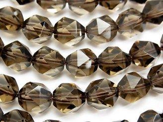 天然石卸 宝石質スモーキークォーツAAA 20面ラウンドカット10mm 1/4連〜1連(約37cm)