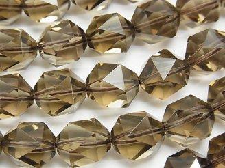 天然石卸 宝石質スモーキークォーツAAA 20面ラウンドカット12mm 1/4連〜1連(約36cm)