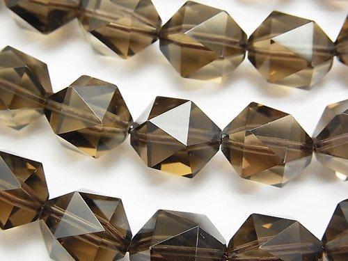 宝石質スモーキークォーツAAA 20面ラウンドカット14mm 1/4連〜1連(約36cm)の画像