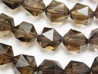 天然石卸 宝石質スモーキークォーツAAA 20面ラウンドカット14mm 1/4連〜1連(約36cm)