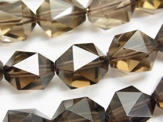天然石卸 宝石質スモーキークォーツAAA 20面ラウンドカット16mm 1/4連〜1連(約36cm)