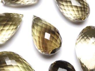天然石卸 粒売り!宝石質スモーキー×レモンクォーツAAA 大粒ドロップ ブリオレットカット 4粒3,980円!