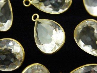 天然石卸 宝石質クリスタルAAA- 枠留めペアシェイプファセットカット18×13mm 18KGP 3粒1,480円!