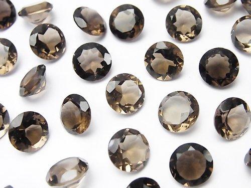 宝石質スモーキークォーツAAA 穴なしラウンドファセットカット9×9mm 5粒