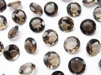 天然石卸 5粒680円!宝石質スモーキークォーツAAA 穴なしブリリアントカット9×9mm 5粒