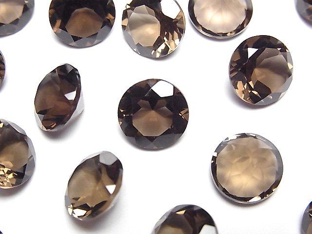 宝石質スモーキークォーツAAA 穴なしラウンドファセットカット10×10mm 5粒