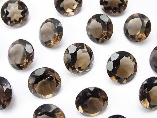 宝石質スモーキークォーツAAA 穴なしラウンドファセットカット11×11mm 5粒