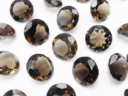 宝石質スモーキークォーツAAA 穴なしラウンドファセットカット12×12mm 3粒