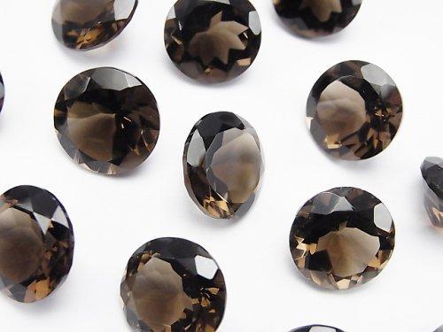 宝石質スモーキークォーツAAA 穴なしラウンドファセットカット13×13mm 3粒