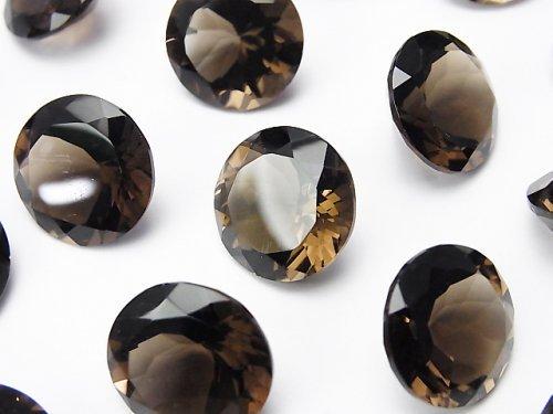 宝石質スモーキークォーツAAA 穴なしラウンドファセットカット15×15mm 2粒