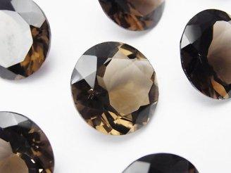 天然石卸 2粒1,780円!宝石質スモーキークォーツAAA 穴なしブリリアントカット18×18mm 2粒