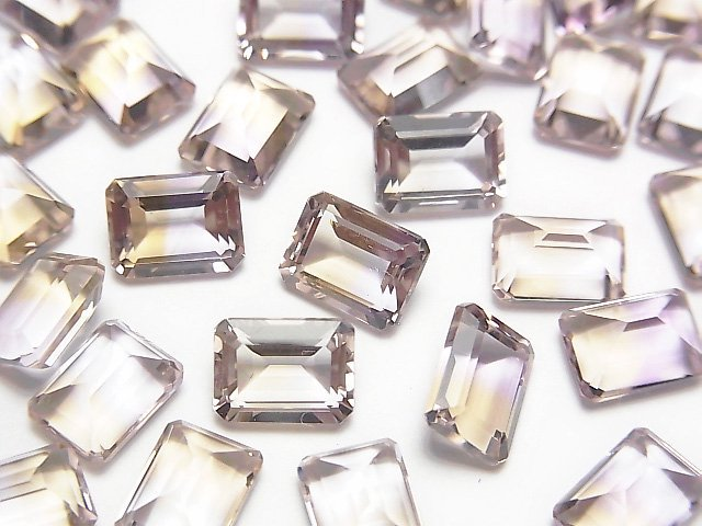 宝石質アメトリンAAA 穴なしレクタングルファセットカット8×6×4mm 3粒の画像