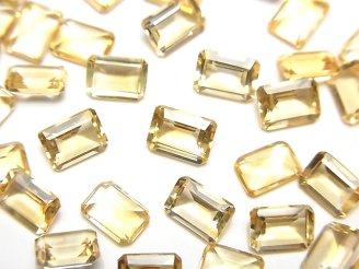 天然石卸 宝石質シトリンAAA 穴なしレクタングルファセットカット7×5×3mm 5粒680円!