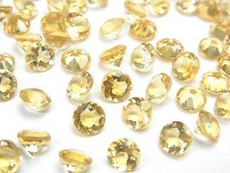 天然石卸 宝石質シトリンAAA 穴なしブリリアントカット6×6×4mm 5粒580円!