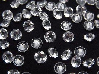 天然石卸 宝石質ホワイトトパーズAAA 穴なしブリリアントカット4×4×2.5mm 10粒380円!