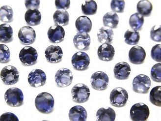 天然石卸 宝石質アイオライトAAA 穴なしラウンドファセットカット4×4mm 10粒580円!