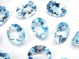 天然石卸 宝石質スカイブルートパーズAAA- 穴なしオーバルファセットカット12×10mm 4粒2,980円!