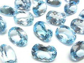 天然石卸 宝石質スカイブルートパーズAAA- 穴なしオーバルファセットカット16×12mm 3粒4,480円!