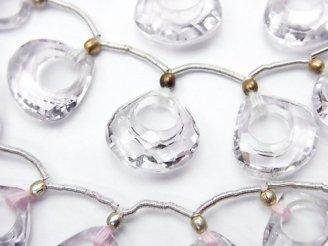 天然石卸 宝石質ローズアメジストAAA ドーナツ型マロンカット 1粒・1連(7粒)