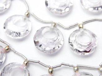 天然石卸 宝石質ローズアメジストAAA ドーナツ型コインカット 1粒・1連(7粒)