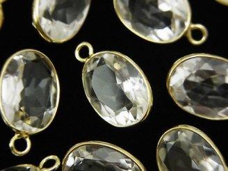 天然石卸 宝石質クリスタルAAA 枠留めオーバル15×11mm ファセットカット 【片カン】 18KGP 3個1,180円!