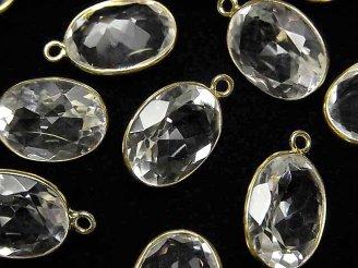 天然石卸 宝石質クリスタルAAA 枠留めオーバル17×13mm ファセットカット 【片カン】 18KGP 3個1,380円!