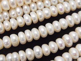 天然石卸 1連880円!淡水真珠AA+ ホワイト ロンデル6×6×3mm 1連(約36cm)