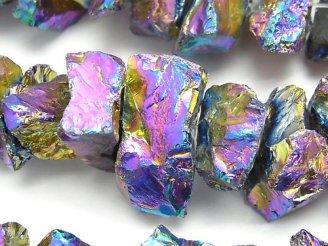 天然石卸 1連1,380円!クリスタル 大粒ラフロックタンブル メタリックコーティング 1連(約38cm)