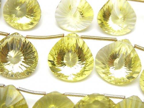 宝石質レモンクォーツAAA マロン コンケーブカット 1連(約15cm)