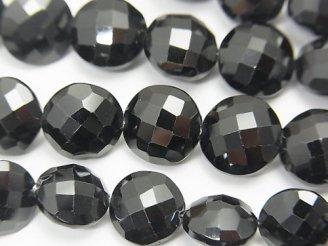 天然石卸 宝石質ブラックスピネルAAA- コインカット 半連/1連(約20cm)