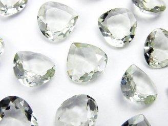 天然石卸 宝石質グリーンアメジストAAA 穴なしマロンファセットカット13×13mm 5粒1,580円!
